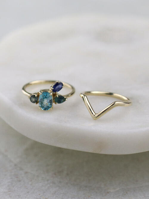 SET: Blue Serenity Cluster Ring + Chevron Deep V Stackable Ring