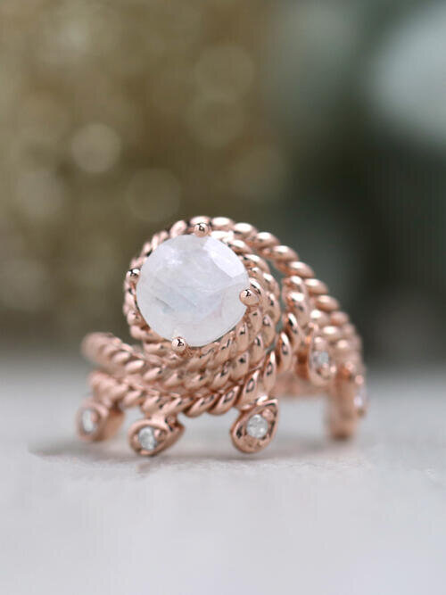 SET: MoonLeaf Diamond Matching Band + Bohemian Vine Round Rainbow Moonstone Solid 14 Karat Gold Engagement Ring