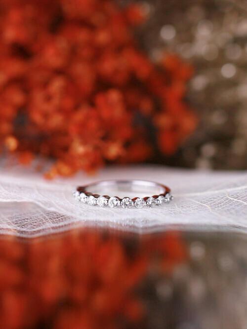 0.50CT Diamond and Single Prong Solid 14 Karat Gold Wedding Band