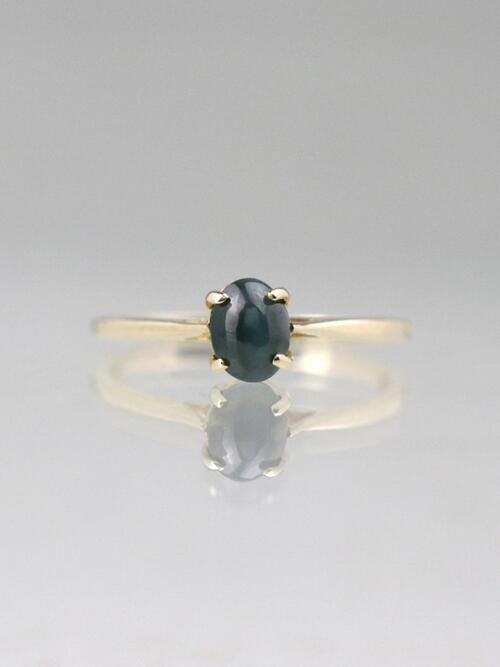 Cat's Eye Cabochon Chrysoberyl Solid 14 Karat Gold Solitaire Ring