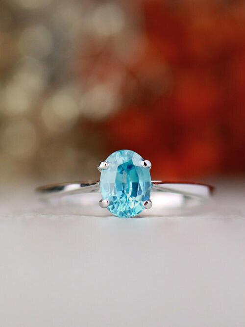 Natural Carribean Blue Zircon Solid 14 Karat Engagement Ring