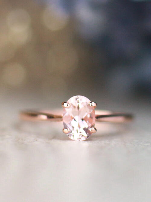7x5MM Classic Morganite Solid 14 Karat Gold Solitaire Engagement Ring