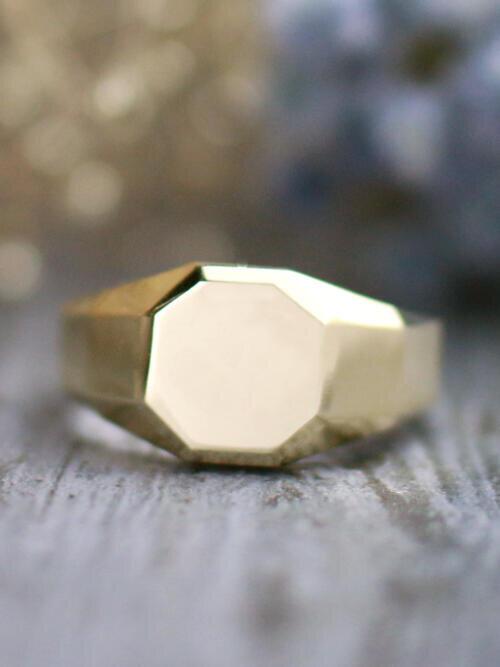 Octagon Solid 14 Karat Gold Men's Signet Ring
