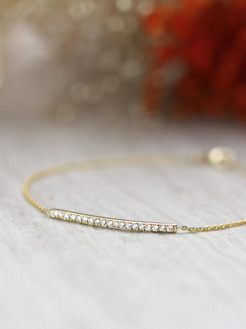 Natural Dainty Diamond Solid 14 Karat Gold Bar Bracelet