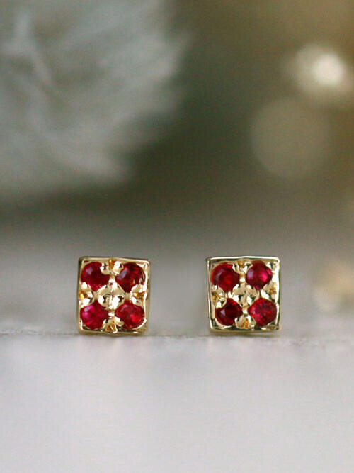 Natural Ruby Square Solid 14 Karat Gold Earrings