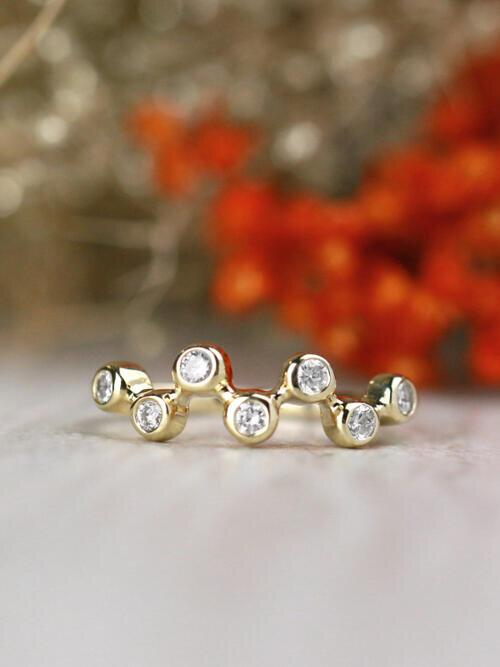 Floating Diamond Bezel Solid 14 Karat Gold Ring