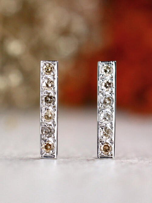0.60CT Champagne Diamond Substantial Solid 14 Karat Gold Bar Earrings