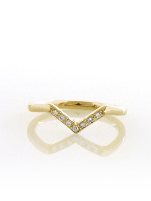 fb185bbd7a787 Chevron V Solid 14 Karat Gold Diamond Ring