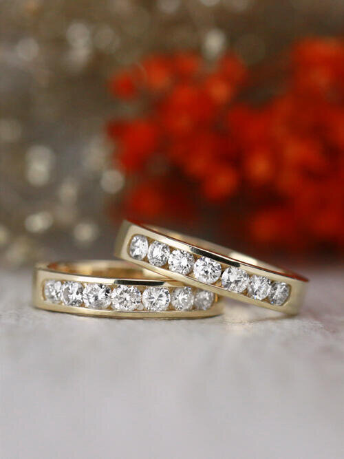 Set of Two: 0.70 Natural Diamond Channel Solid 14 Karat Gold Bands