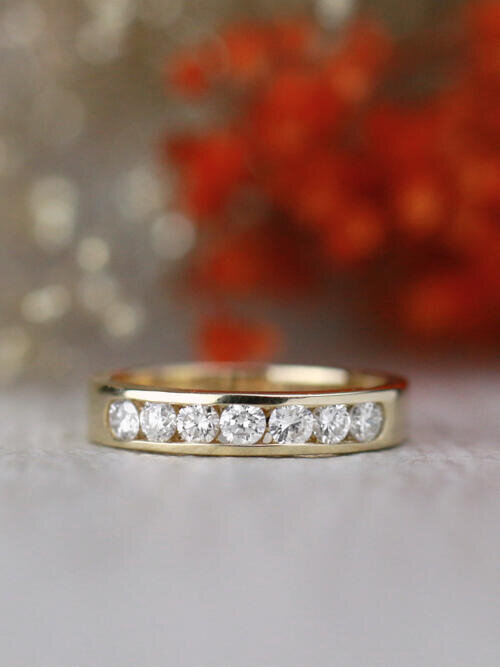 0.70CT Natural Diamond Channel Solid 14 Karat Gold Band
