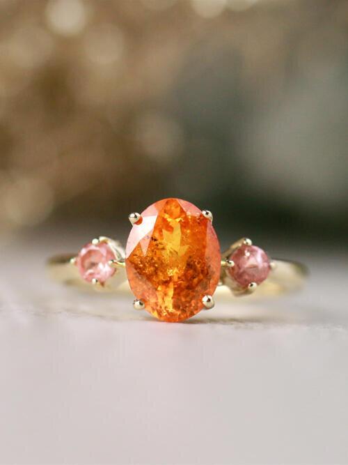 9x7MM Natural Oval Mandarin Garnet and Coral Tourmaline Solid 14 Karat Gold Ring