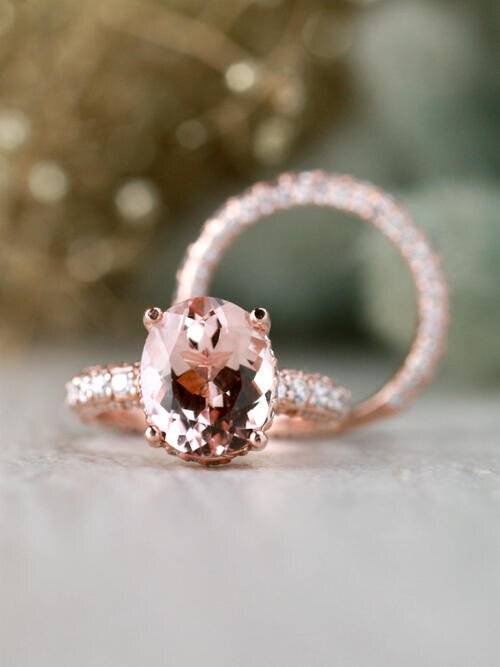 SET: Morganite and Diamond Under Halo Engagement Ring with Three Row Diamond Solid 14 Karat Gold Band