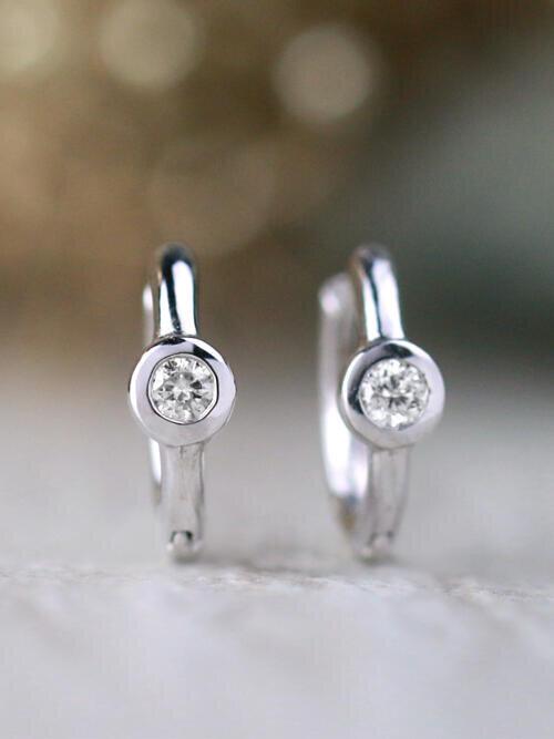 0.20CT Diamond Bezel Solid 14 Karat Gold Huggie Earrings