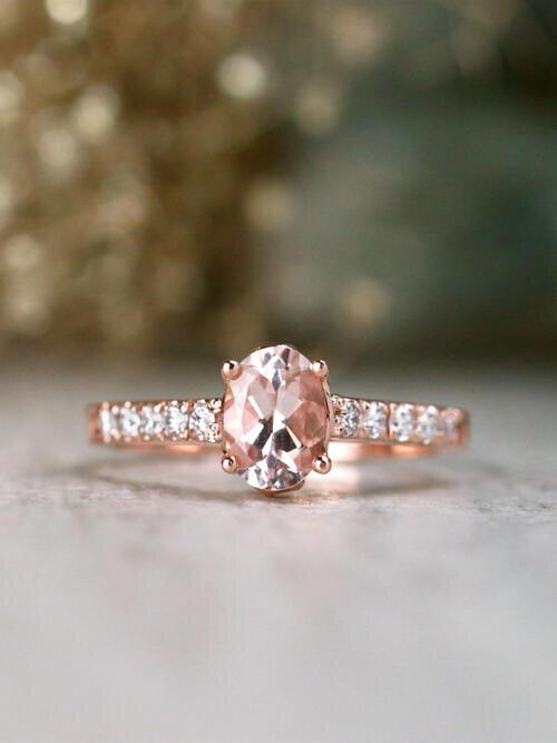 7x5MM Morganite and Diamond Bezel Solid 14 Karat Gold Engagement Ring