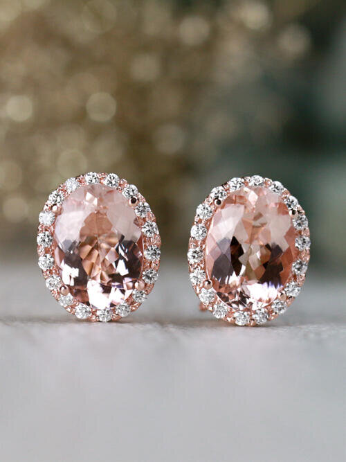14x10MM Morganite and Diamond Halo Solid 14 Karat Gold French Clip Earrings