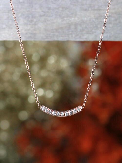 Petite Bar Solid 14 Karat Diamond Necklace