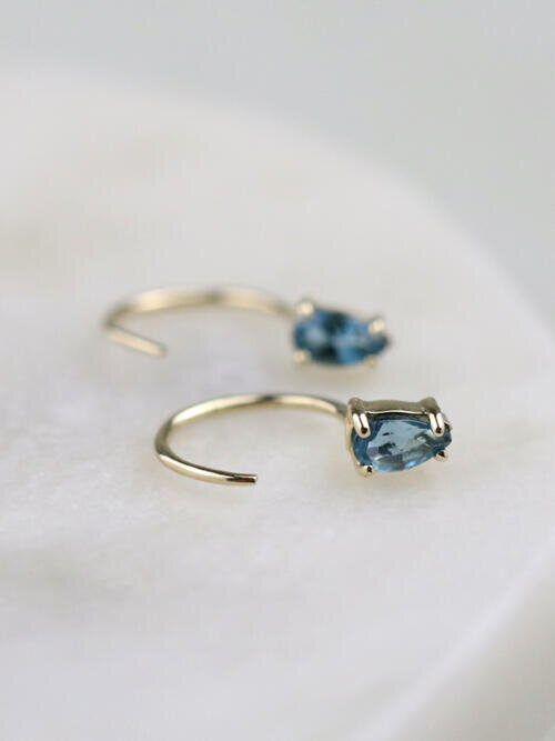 Teardrop Blue Topaz Solid 14 Karat Gold Open Huggie Earrings