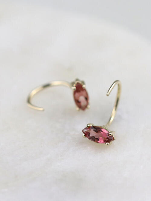 Pink Marquise Tourmaline Solid 14K Gold Open Huggie Earrings
