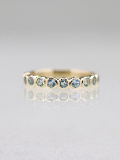 Natural Aquamarine Bezel Solid 14 Karat Gold Ring
