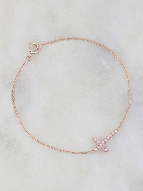 Petite Diamond Solid 14 Karat Gold Cross Bracelet