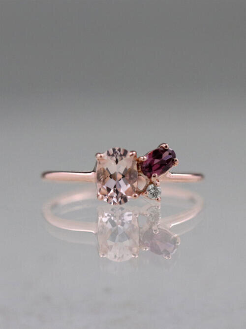 Berry Blush Solid 14 Karat Gold Cluster Ring