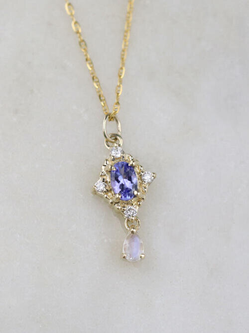 Tanzanite and Moonstone Droplet Pendant