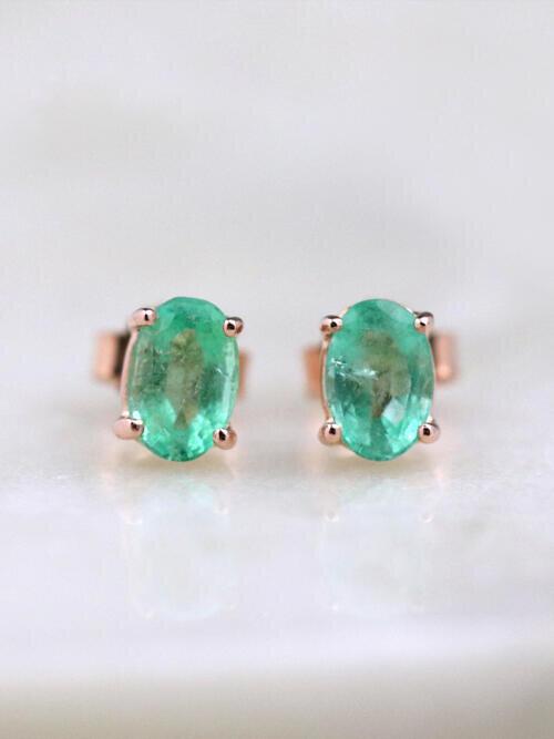 6x4MM Mint Green Emerald Solid 14 Karat Gold Stud Earrings