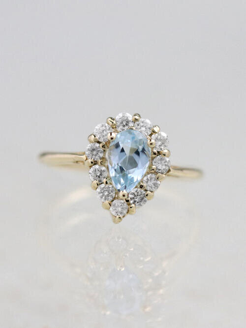 Teardrop Aquamarine Halo Solid 14 Karat Gold Engagement Ring
