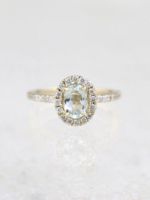 7X5MM Natural Aquamarine Solid 14 Karat Gold Engagement Ring