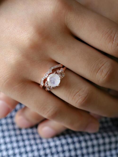 e5376ff7f48 SET.Moonstone Floral Engagement Ring + Moonstone Floral Band