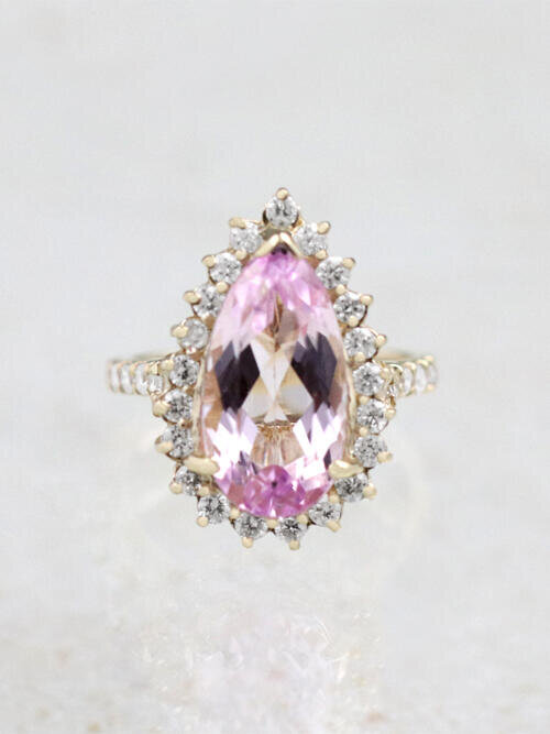 5.73CT Natural Kunzite and Diamond Cocktail Ring