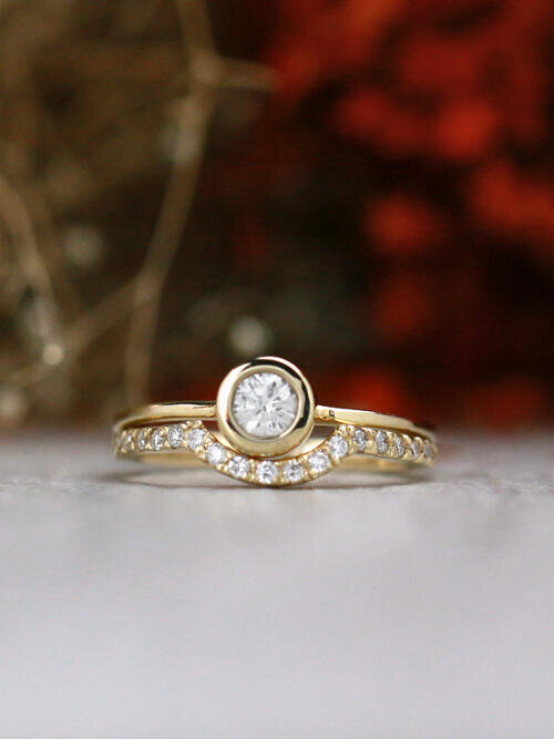 SET: Diamond Curved Matching Band + 0.20CT Diamond Solitaire Solid 14 Karat Gold Engagement Ring