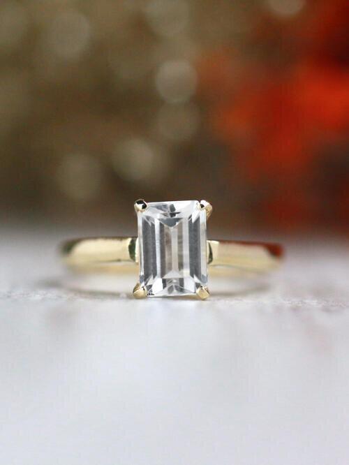 7x5MM White Topaz Solitaire Solid 14 Karat Ring