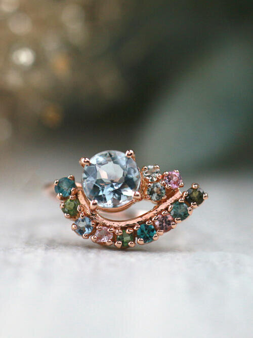 Paisley Aquamarine and Tourmaline Solid 14 Karat Gold Cluster Ring
