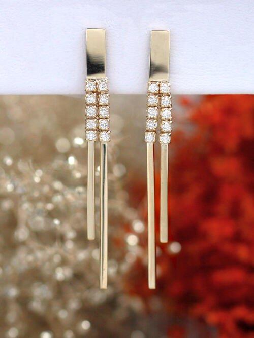Modern Diamond Solid 14 Karat Gold Bar Chandelier Earrings