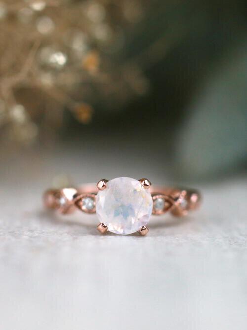 Natural Moonstone Starlight Solid 14 Karat Gold Engagement Ring