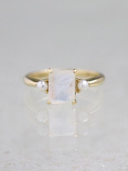 8X6MM Emerald Cut Moonstone and Pearl Solid 14 Karat Gold Ring