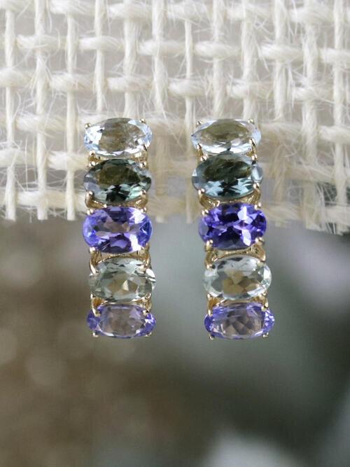 Natural Tourmaline and Tanzaite Solid 14 Karat Gold Hoop Earrings