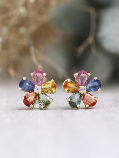 Muiti-colored Sapphire Solid 14 Karat Gold Flower Earrings