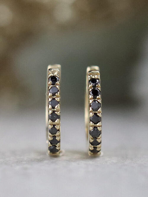 Natural Black Diamond Solid 14 Karat Gold Hoop Earrings