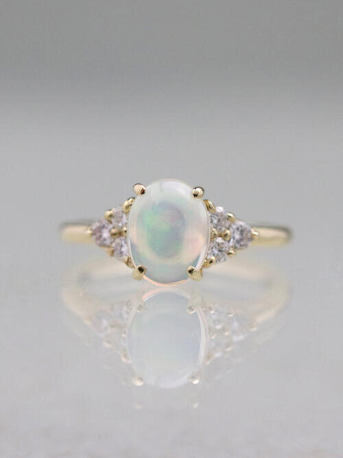 3e4be934a497e9 9x7MM Opal Three Stone Solid 14 Karat Gold Cluster Ring. Previous