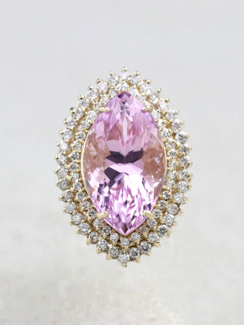21.28CT Natural Kunzite 1.63CT Diamond Double Halo Cocktail Ring