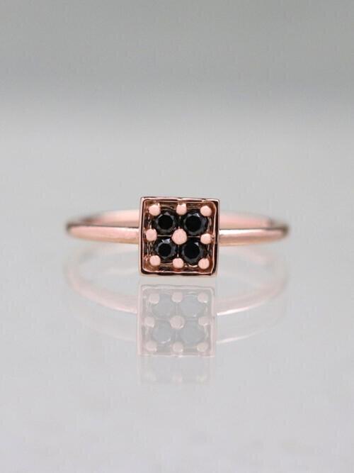 Black Diamond Geometric Ring