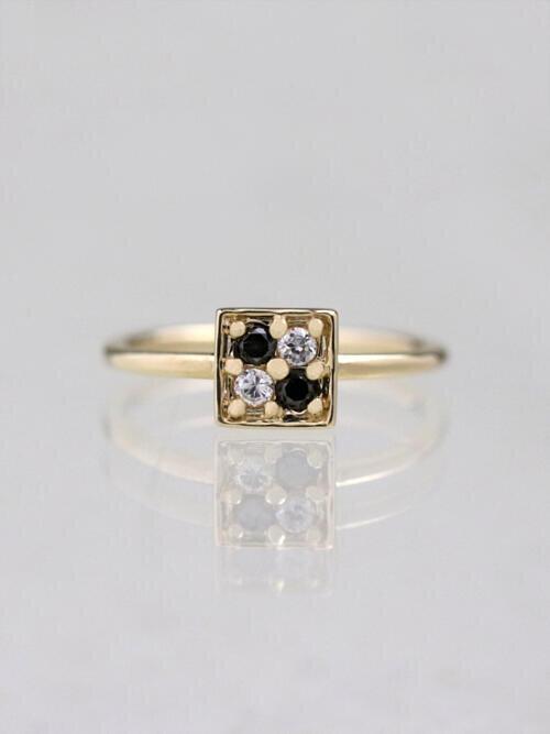 Black and White Diamond Geometric Ring