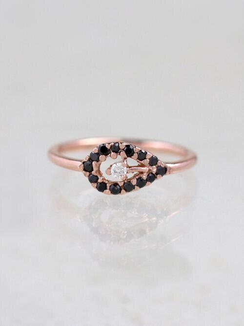 Black on White Evil Eye Ring