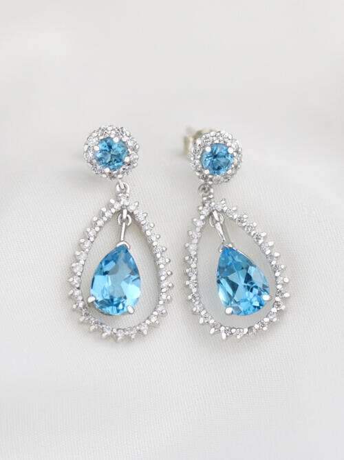 Blue Topaz Chandelier Dangle Diamond Earrings