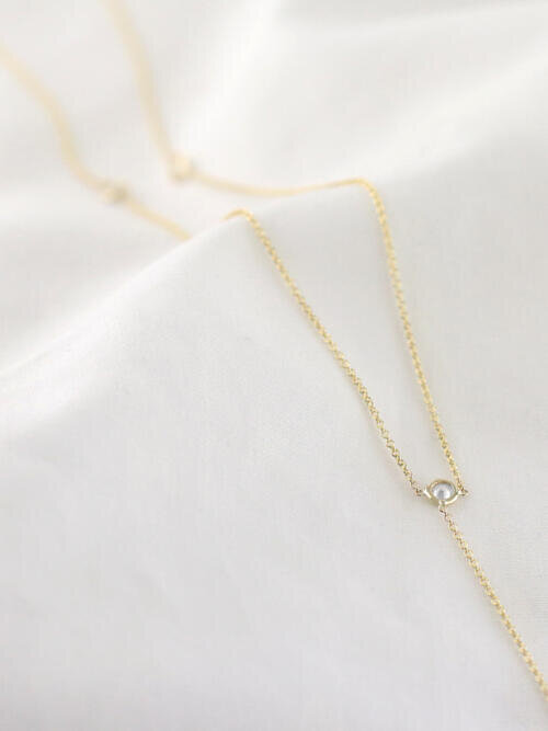0.40CT Natural Diamond Laviat Necklace