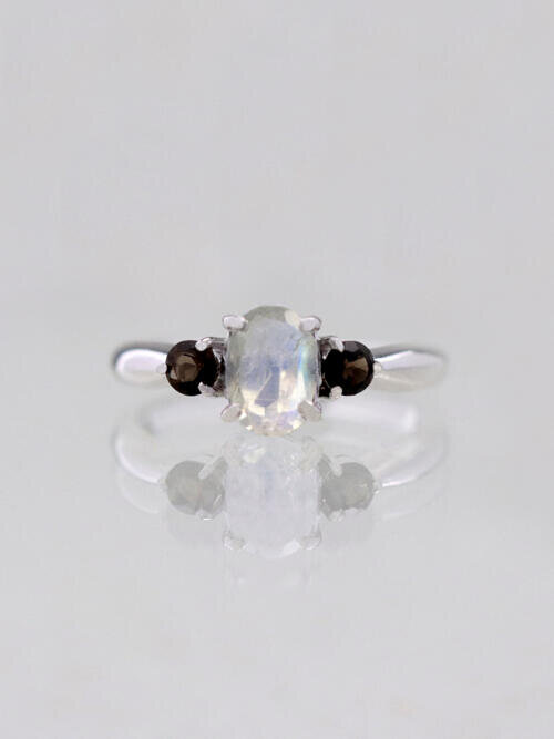 Moonstone and Topaz Past Present Future Engagement Ring
