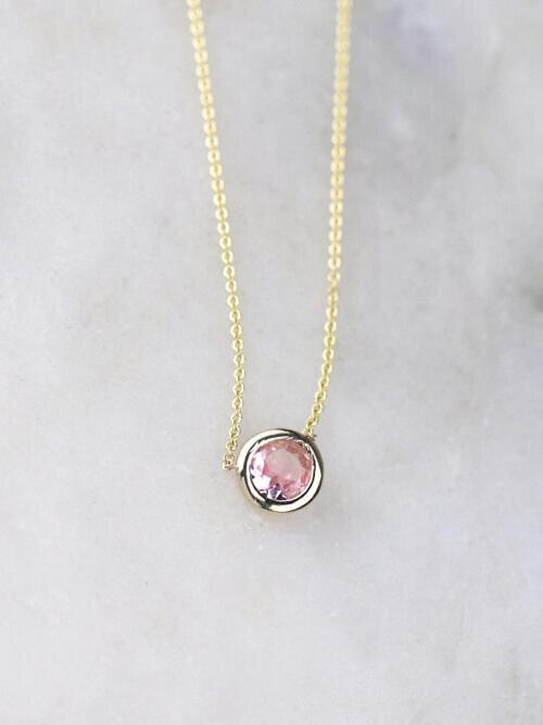 Baby Pink Tourmaline Bezel Necklace