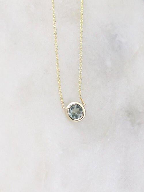 Blue Grey Tourmaline Bezel Necklace